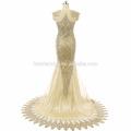 Dentelle Applique Robe de Soirée Sirène 2017 Longue Sans Manches Suzhou Robe de Bal avec petite queue