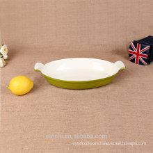 enameled iron green grill pan for baking
