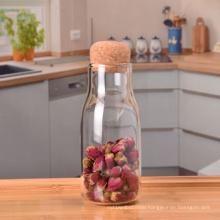 Small clear glass milk bottle honey storage jar with cork top