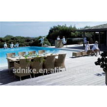 long narrow outdoor dining table