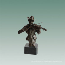 Busts Brass Statue Violin Player Decoration Bronze Sculpture Tpy-762