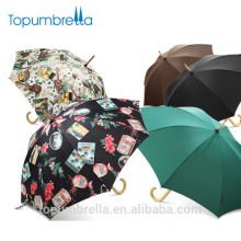 L'Oreal Usine En Gros De Haute Qualité De Luxe Marque Privée Dames De Mode Parapluie Droite Avec Poignée En Bois