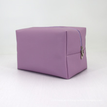 2020 women Pink Saffiano PU Leather Pochette with Double Gold Color Metal Zipper Puller