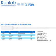 Pipetas de Transferencia de Capacidad de 5ml con Graduación hasta 2ml