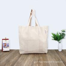 Eco-friendly Large Capacity Portable Reusable Shopping Bags Blank 100% Cotton Canvas Tote Bag