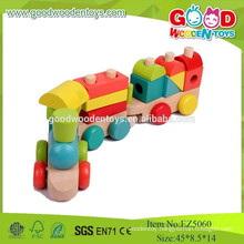 2015 Cheap And High Quality Wooden Train Set Toys For Kids ,Colorful Stack Block Train Toy