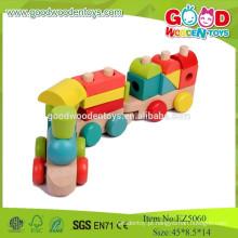 2015 Brinquedos baratos e de alta qualidade para o jogo de trem de madeira para crianças, brinquedos coloridos para trem de blocos de pilha