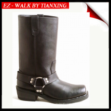 GENUINE LEATHER MOTOCYCLE BOOTS WITH RUBBER OUTSOLE AND SQUARE TOE