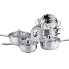 Home Basic 6PC Cookware with Steamer Set Stainless Steel Saucepan