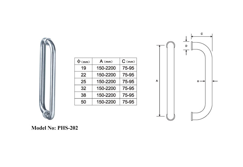 Tubular Shower Door Pull Handles-b