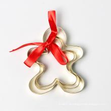 Conjunto de cortador de biscoito de chapeamento de ouro homem gengibre de Natal