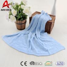 2018 new design 100% cotton plain crochet baby blanket in blue