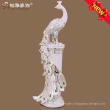 Home interior decoration high quality peacock figurine with resin material
