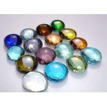 Großhandel farbige runde flache Glasmarmore für Heimtextilien