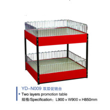 Double Layers Supermarket Metal Sales Promotional Display Stand