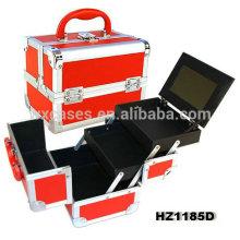 casos de cosmético profissional de alumínio com bandejas e espelho dentro do fabricante de China HZ1185D