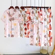 Летние тонкие трехкомпонентные пижамы и пижамы из искусственного шелка с короткими рукавами
