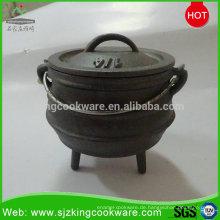 1/4 # Schwarzer südafrikanischer Mini-Gusseisen Potjie Pot