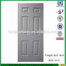 Porte d'entrée à 6 panneaux en acier blanc