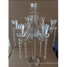 Titular de vela de cristal para a decoração do casamento com três bornes
