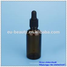 empty dark amber glass bottle dropper with blub dropper