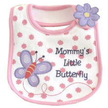 Girls Cartoon Butterfly Applique Embroidered Cotton Soft Custom Baby Bib