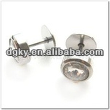 Round enamel top surgical steel ear ring piercing