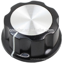 MF-A Large Boss Style Fluted Black Turning Knob With Silver Top Amplifier Knobs