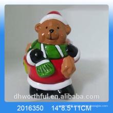 Terracotta Christmas bear ceramic flower pot for garden