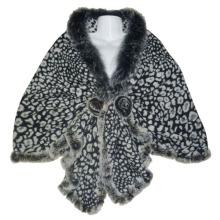 Xaile de leopardo malha de lã cinza moda senhora (yky4142-2)