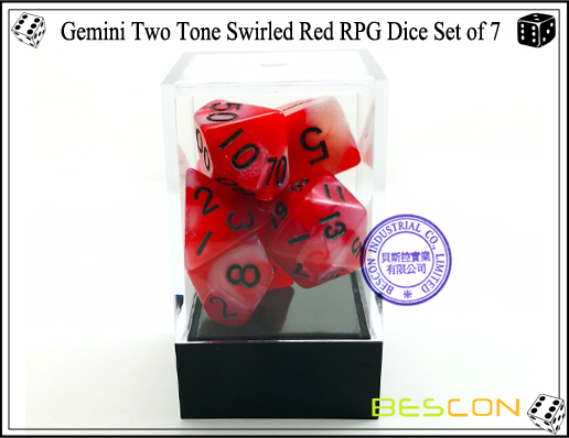 Gemini Two Tone Swirled Red RPG Dice Set of 7-4