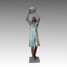 Große Statue Bademädchenbrunnen Bronze Skulptur Tpls-016