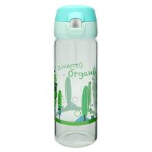 Botella de agua de vidrio abierto con un solo toque