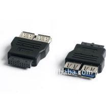 Placa principal conversor USB 2.0 de 20 pinos para 2 suportes (adaptador)