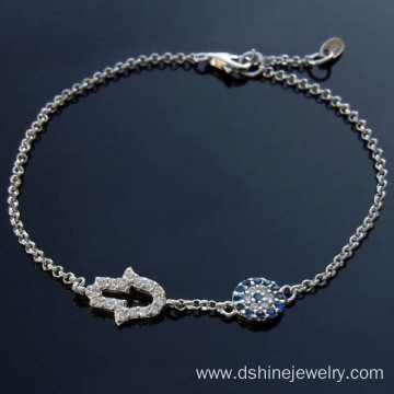 High Quality Silver And Gold Color Evil Eye Diamond Bracelet