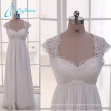 Queen Anne longitud piso plisado gasa encaje vintage madre de los vestidos de novia