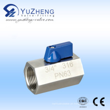 Válvula de esfera de aço inoxidável mini FF-NPT / BSPT / BSPP rosca interna
