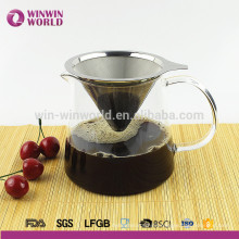 New Product Coffee Maker Pour-Over Stainless Steel Coffee Filter with Glass Carafe