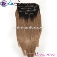 Gros Alibaba Remy Vierge Cheveux Remy Extension de Cheveux Clip sur Dark Blonde