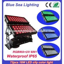 72pcs 18w IP65 DMX 6 в 1 наружном водонепроницаемом светильнике rgbwauv
