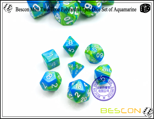Bescon Mini Two-Tone Polyhedral 7pcs Dice Set of Aquamarine-2