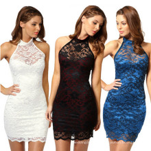 New Design Sleevelesss Backless Halter Sexy Lace Dress (50160)