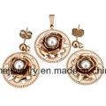 Shineme Schmuck Edelstahl Gold Überzug Schmuck Sets Ohrring mit Anhänger (ERS7093)