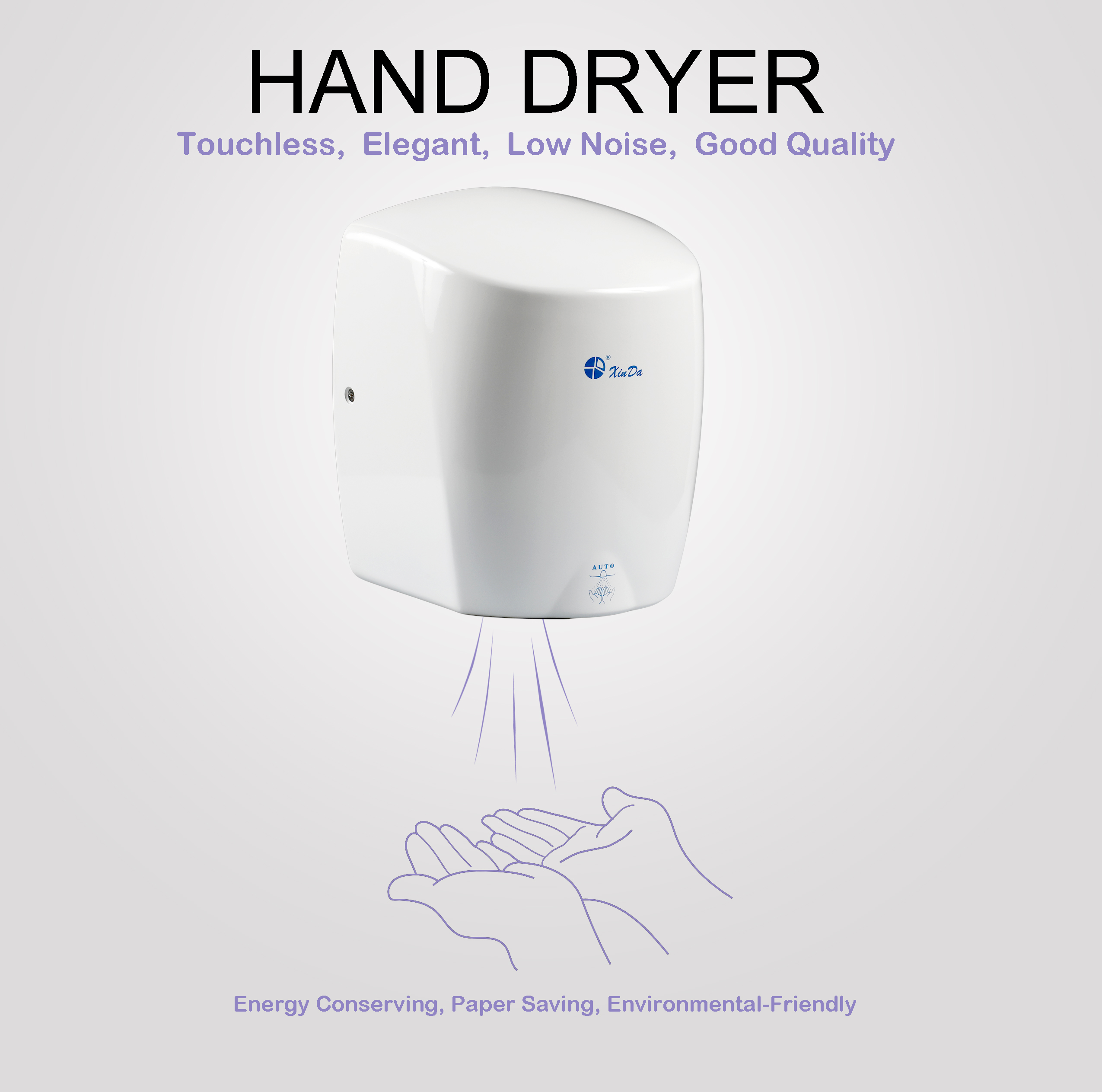 Cylindrical hand dryer with infrared sensor