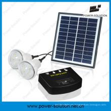 Sistema solar recargable con 2 bombillas y cargador de teléfono móvil y panel solar de 4W y bombilla solar de 2W para interior