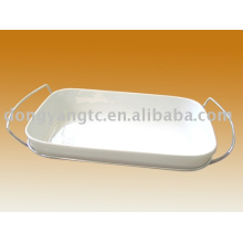 Factory direct wholesale customized ceramic Oval Dish with Lid