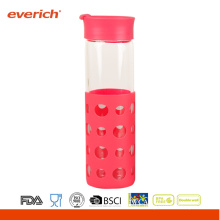 Wholesale 550ml Borosilicate clear glass bottle With Silicone Sleeve