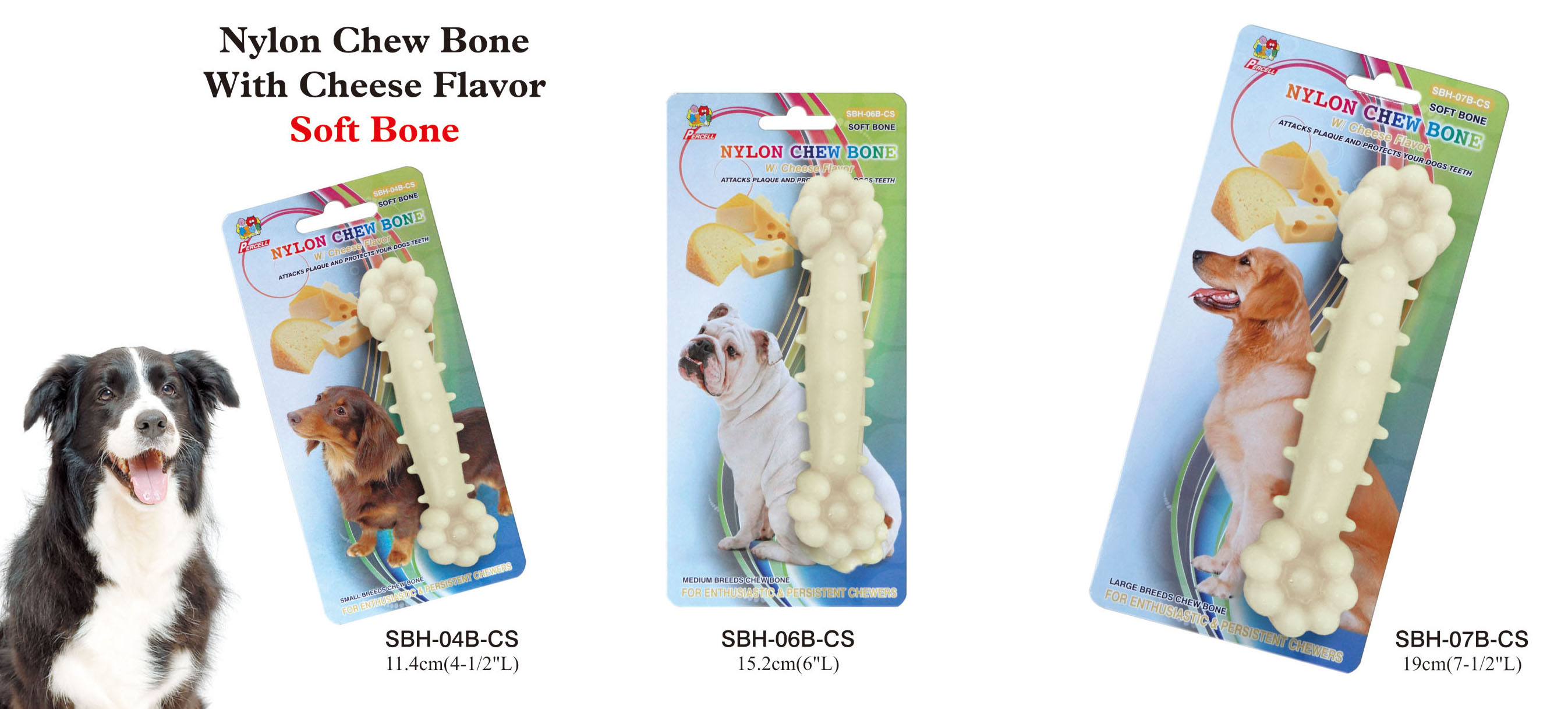 cheese scented nylon chew bone - small, medium and large
