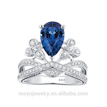 Отличный дизайн Качественный Cz камень с бриллиантовым прозрачным / рубиновым / сапфировым обручальным кольцом