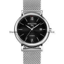 Automatic Stainless Steel Sapphire Mesh Band Men′s Wrist Watch